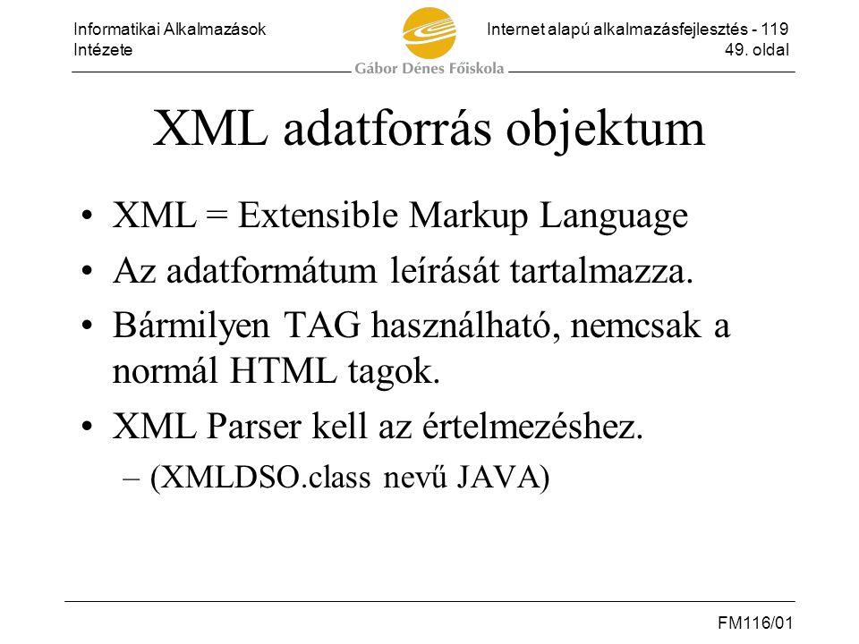 XML adatforrás objektum