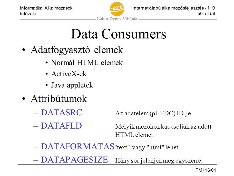 Data Consumers Adatfogyasztó elemek Attribútumok