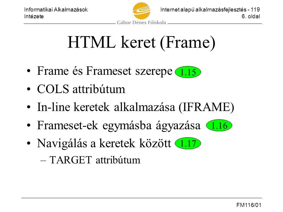 HTML keret (Frame) Frame és Frameset szerepe COLS attribútum
