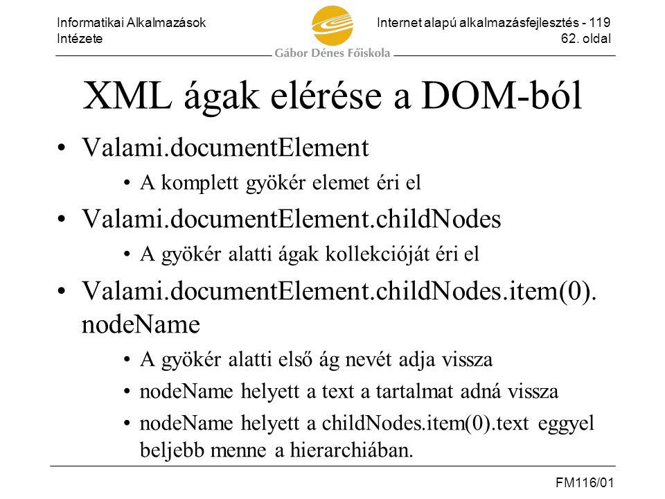 XML ágak elérése a DOM-ból