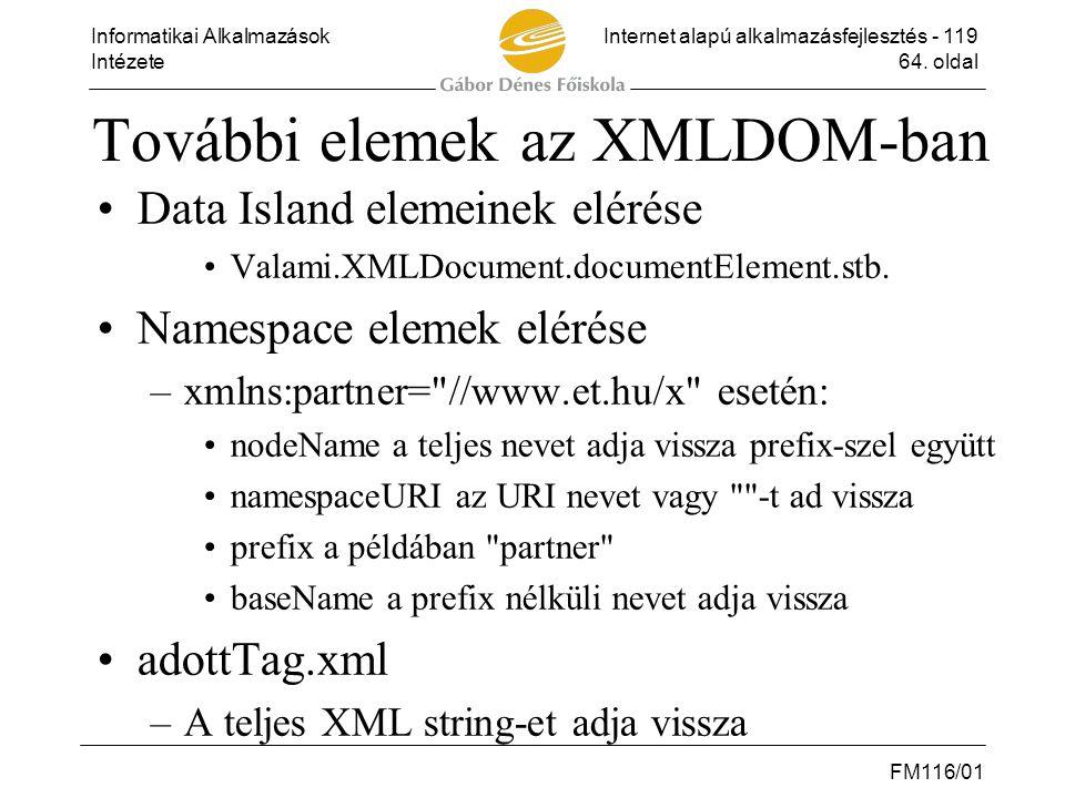 További elemek az XMLDOM-ban