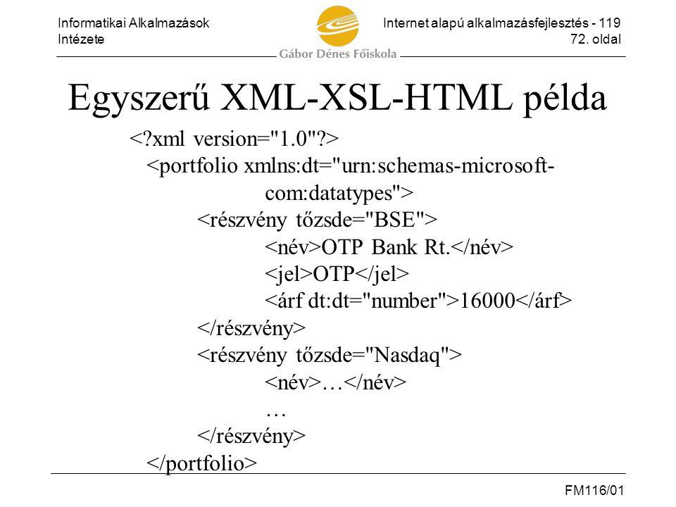 Egyszerű XML-XSL-HTML példa