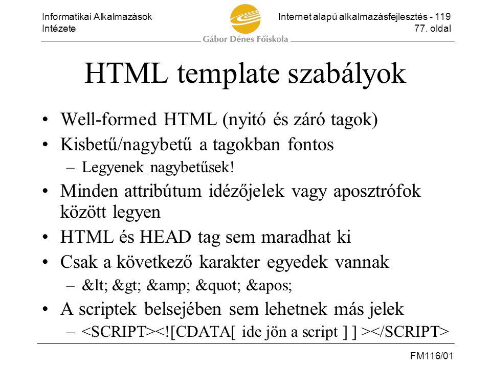 HTML template szabályok