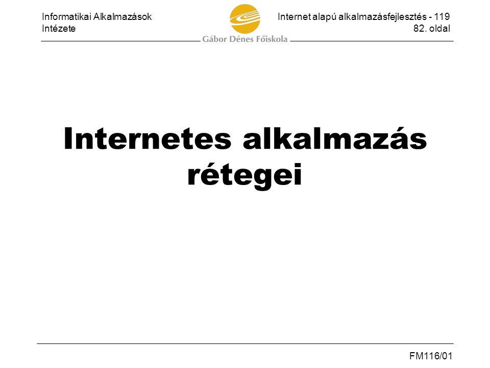 Internetes alkalmazás rétegei