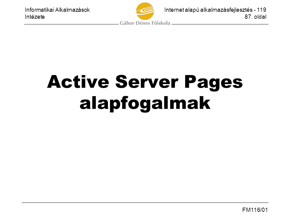 Active Server Pages alapfogalmak