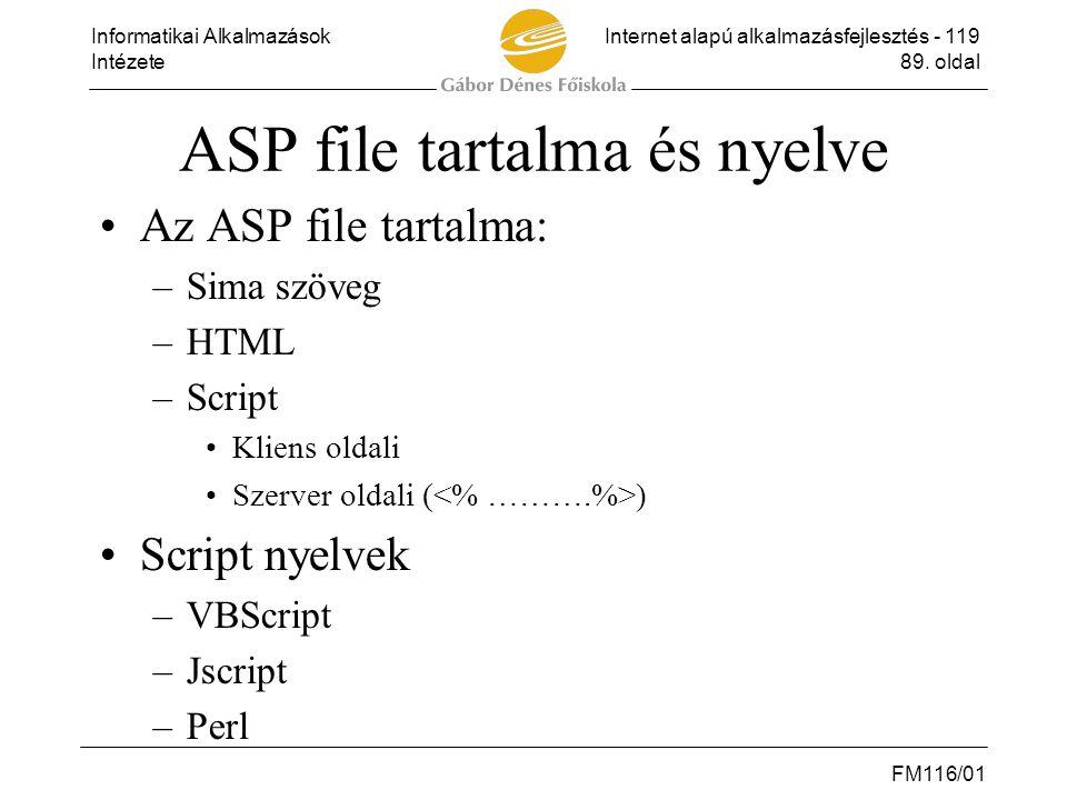 ASP file tartalma és nyelve