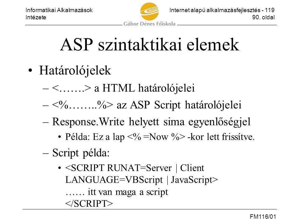 ASP szintaktikai elemek