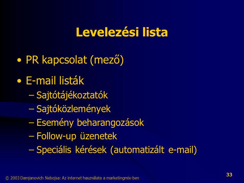 Levelezési lista PR kapcsolat (mező) E-mail listák Sajtótájékoztatók