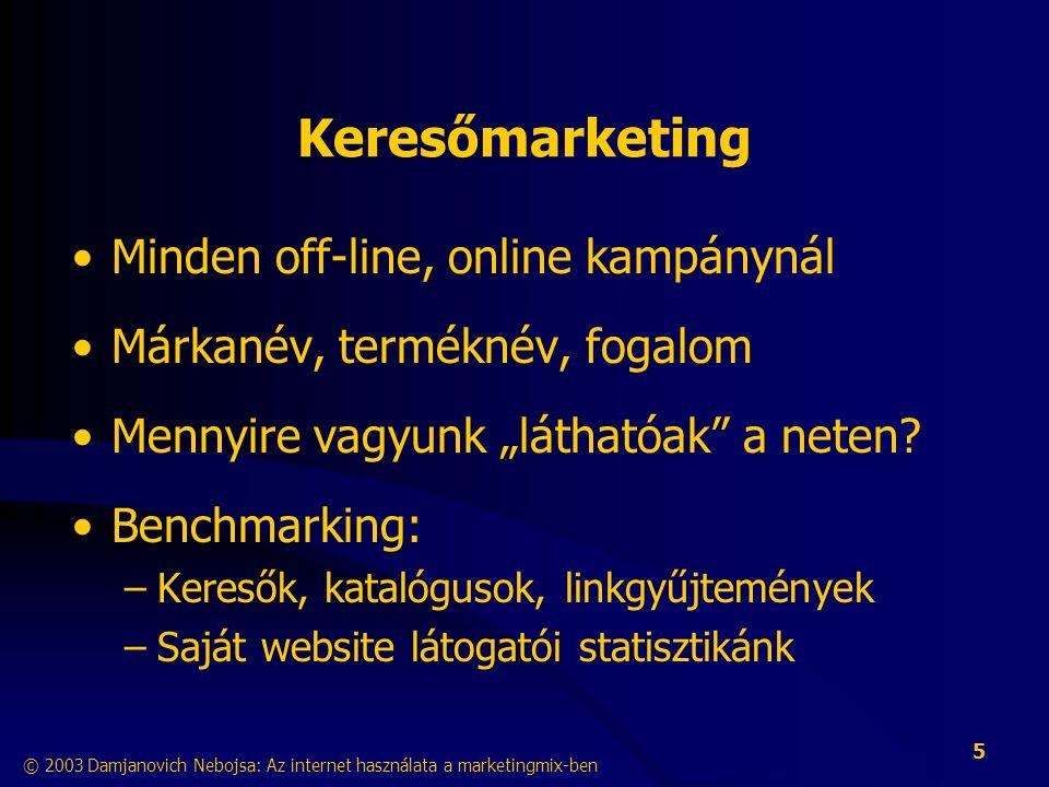 Keresőmarketing Minden off-line, online kampánynál