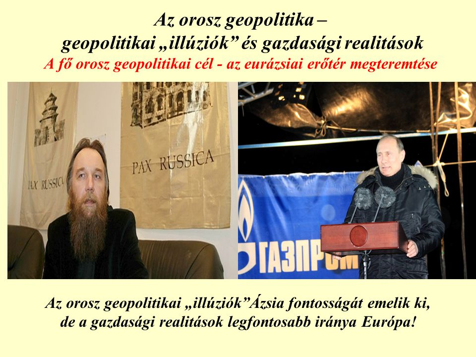 """Az orosz geopolitika – geopolitikai """"illúziók és gazdasági realitások A fő orosz geopolitikai cél - az eurázsiai erőtér megteremtése"""