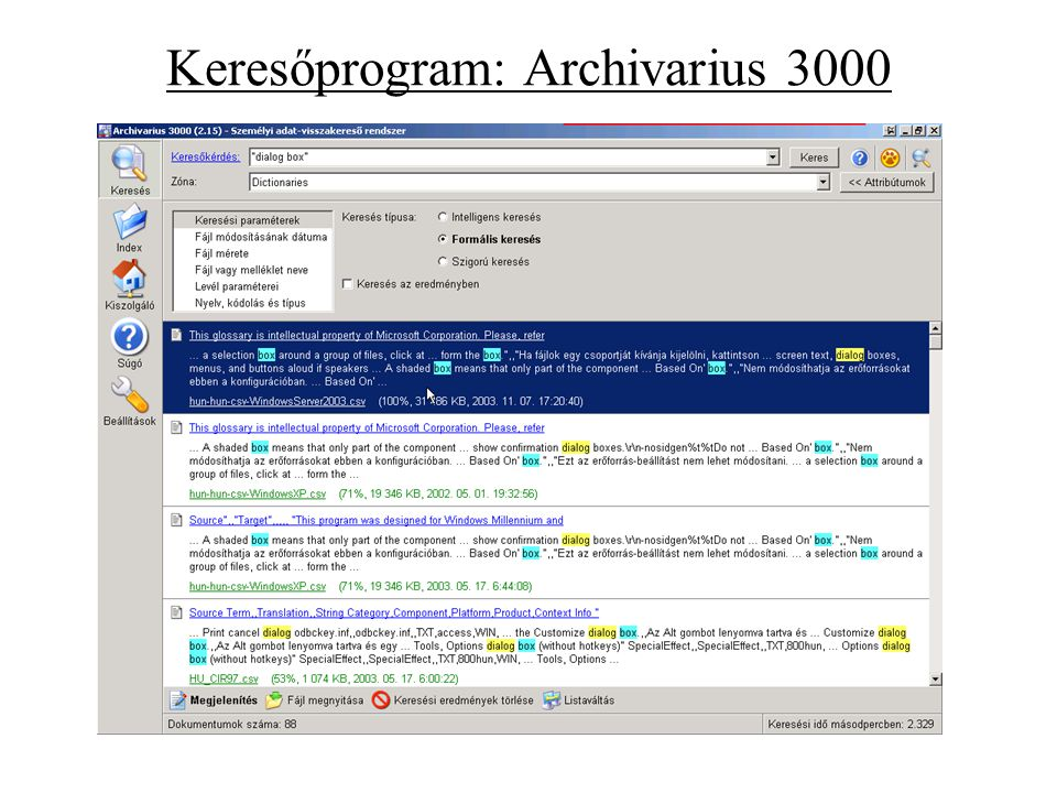 Keresőprogram: Archivarius 3000