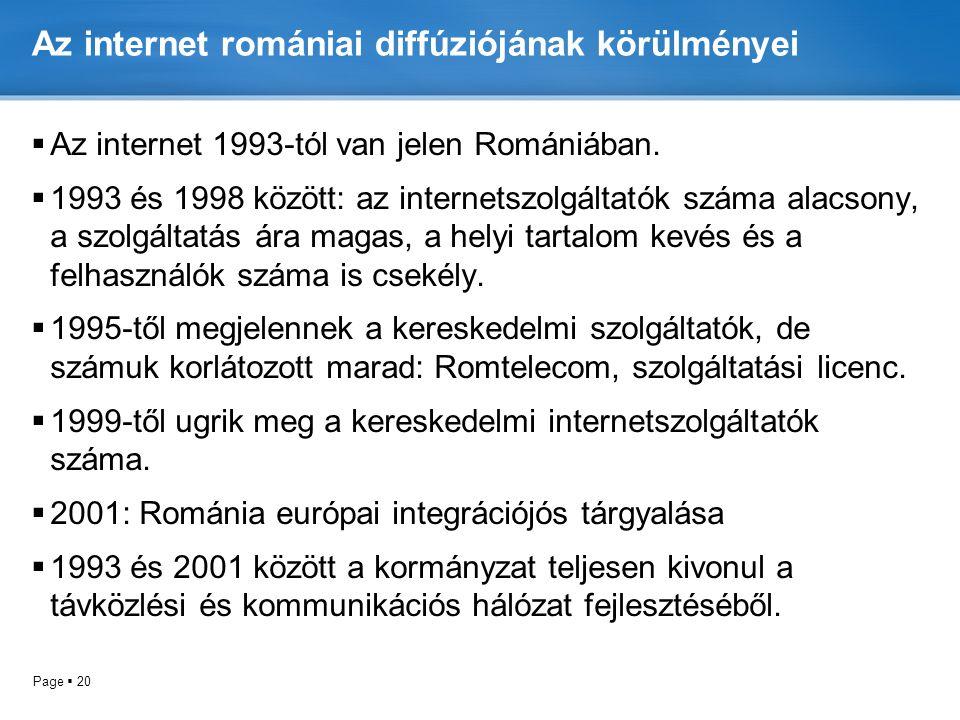 Az internet romániai diffúziójának körülményei