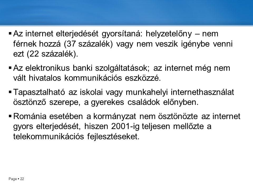 Az internet elterjedését gyorsítaná: helyzetelőny – nem férnek hozzá (37 százalék) vagy nem veszik igénybe venni ezt (22 százalék).