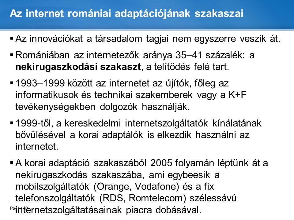 Az internet romániai adaptációjának szakaszai