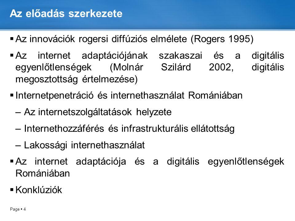 Az előadás szerkezete Az innovációk rogersi diffúziós elmélete (Rogers 1995)