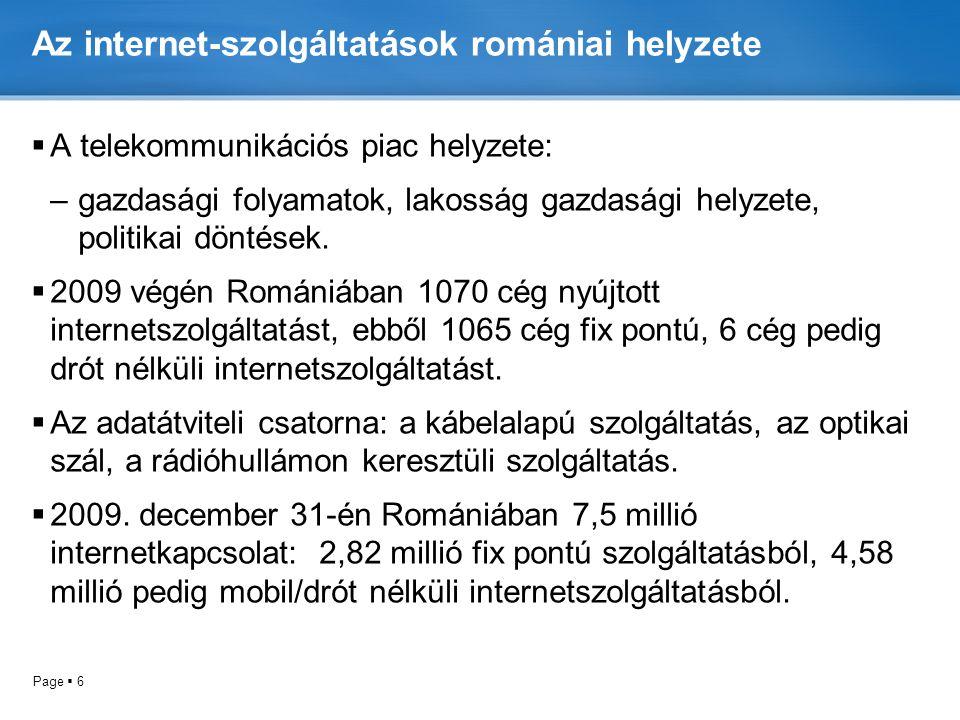 Az internet-szolgáltatások romániai helyzete