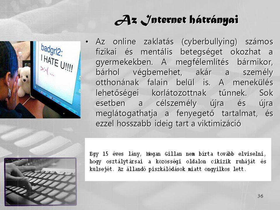 Az Internet hátrányai
