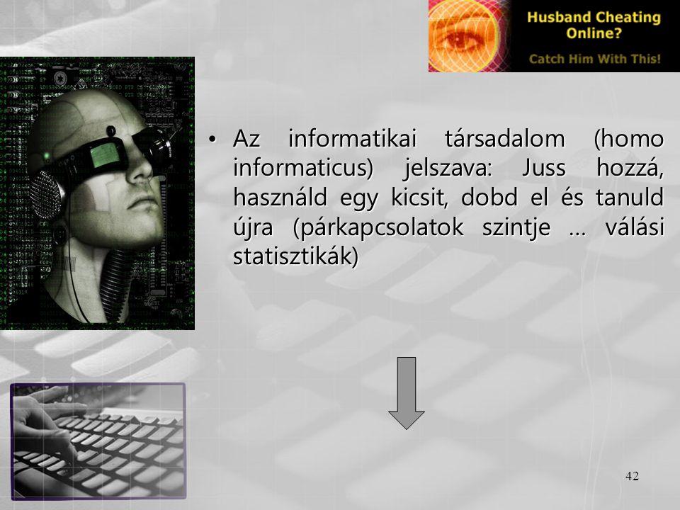 Az informatikai társadalom (homo informaticus) jelszava: Juss hozzá, használd egy kicsit, dobd el és tanuld újra (párkapcsolatok szintje … válási statisztikák)