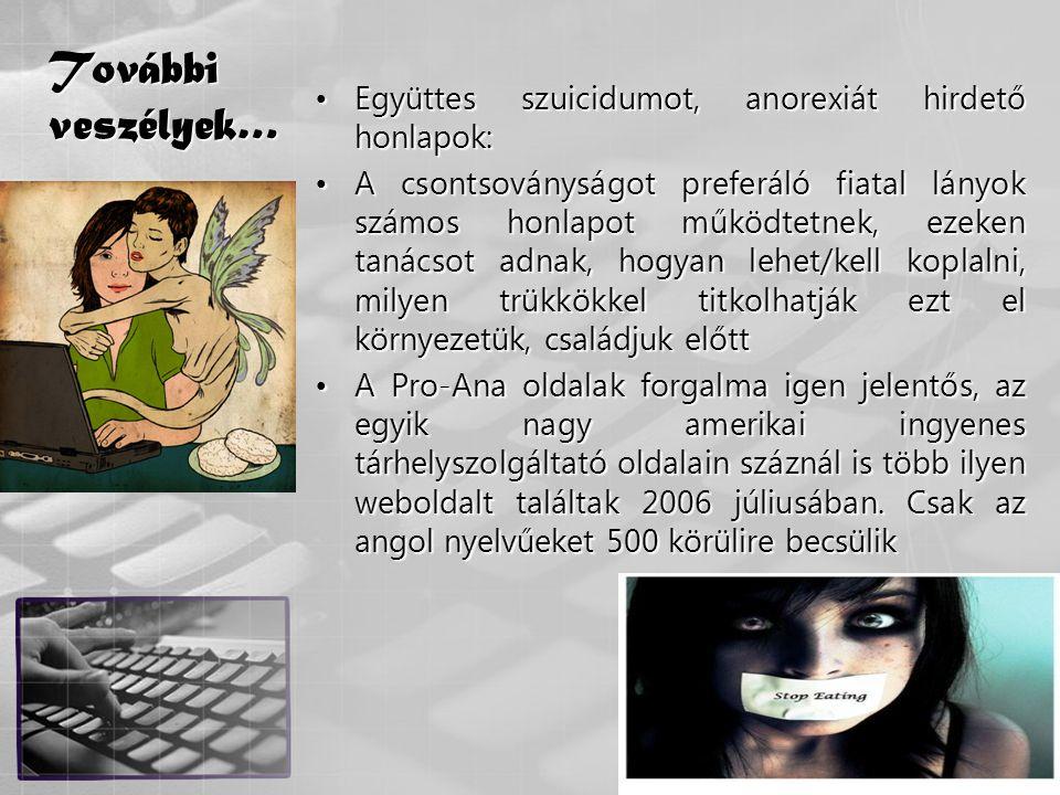További veszélyek… Együttes szuicidumot, anorexiát hirdető honlapok: