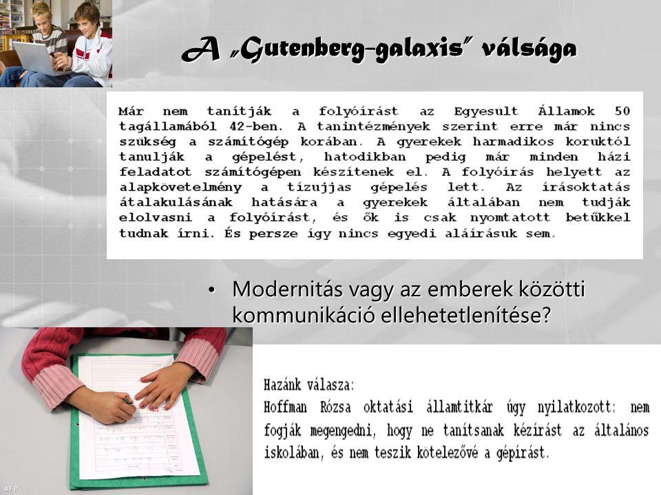 """A """"Gutenberg-galaxis válsága"""