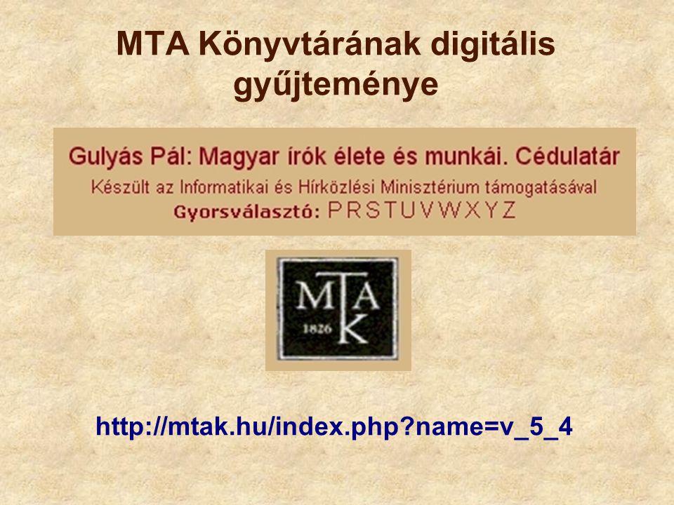 MTA Könyvtárának digitális gyűjteménye
