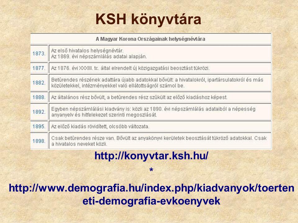 KSH könyvtára http://konyvtar.ksh.hu/ *