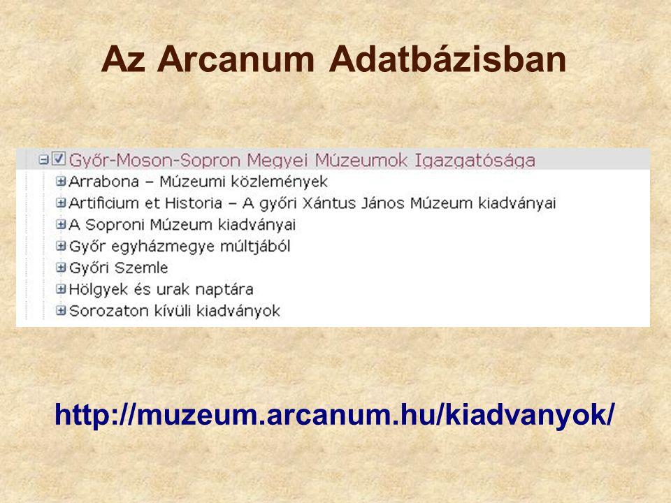 Az Arcanum Adatbázisban