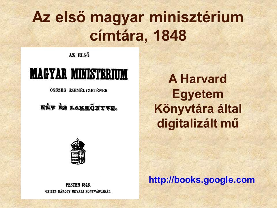 Az első magyar minisztérium címtára, 1848