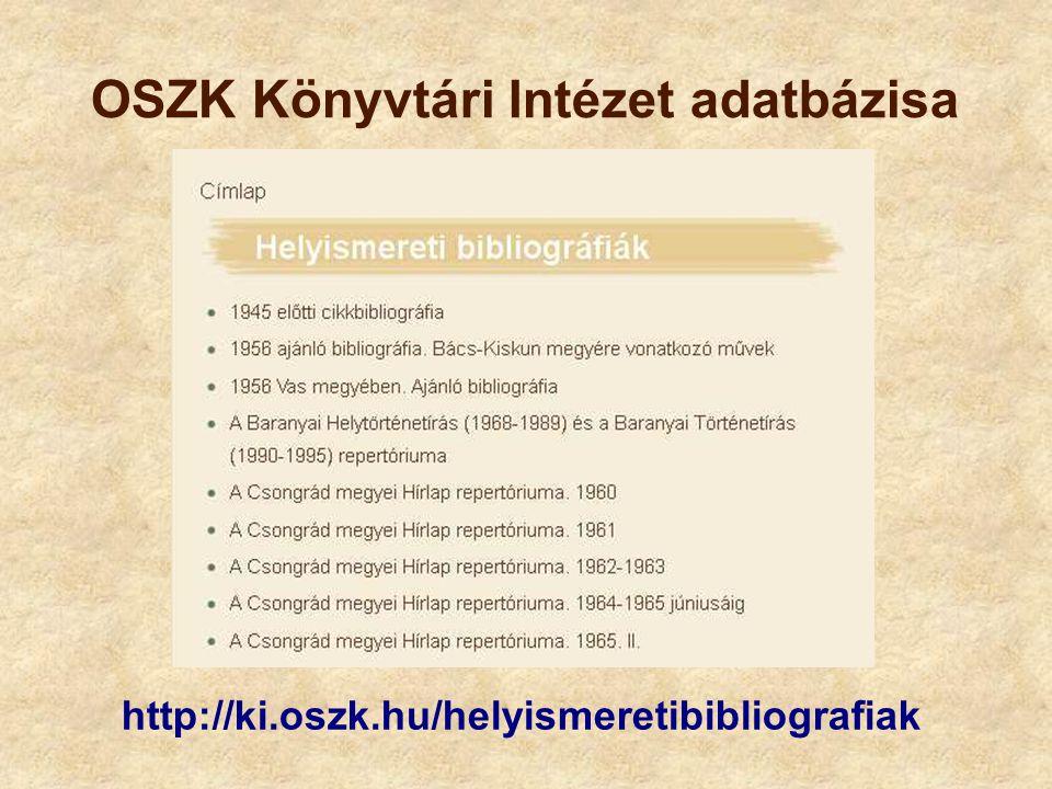 OSZK Könyvtári Intézet adatbázisa