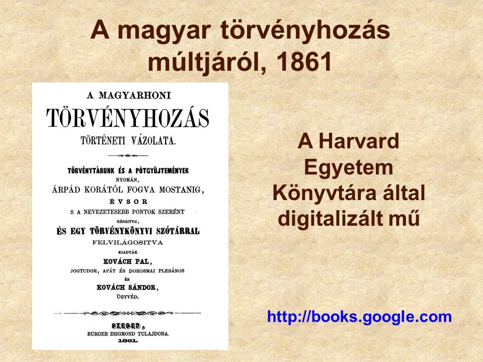 A magyar törvényhozás múltjáról, 1861