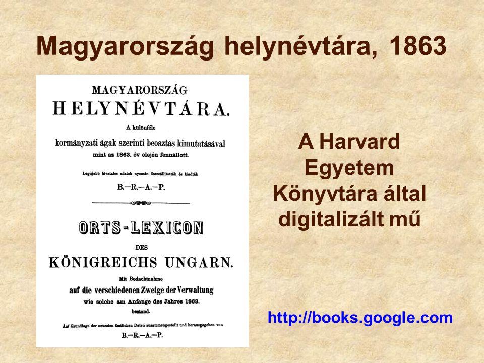 Magyarország helynévtára, 1863