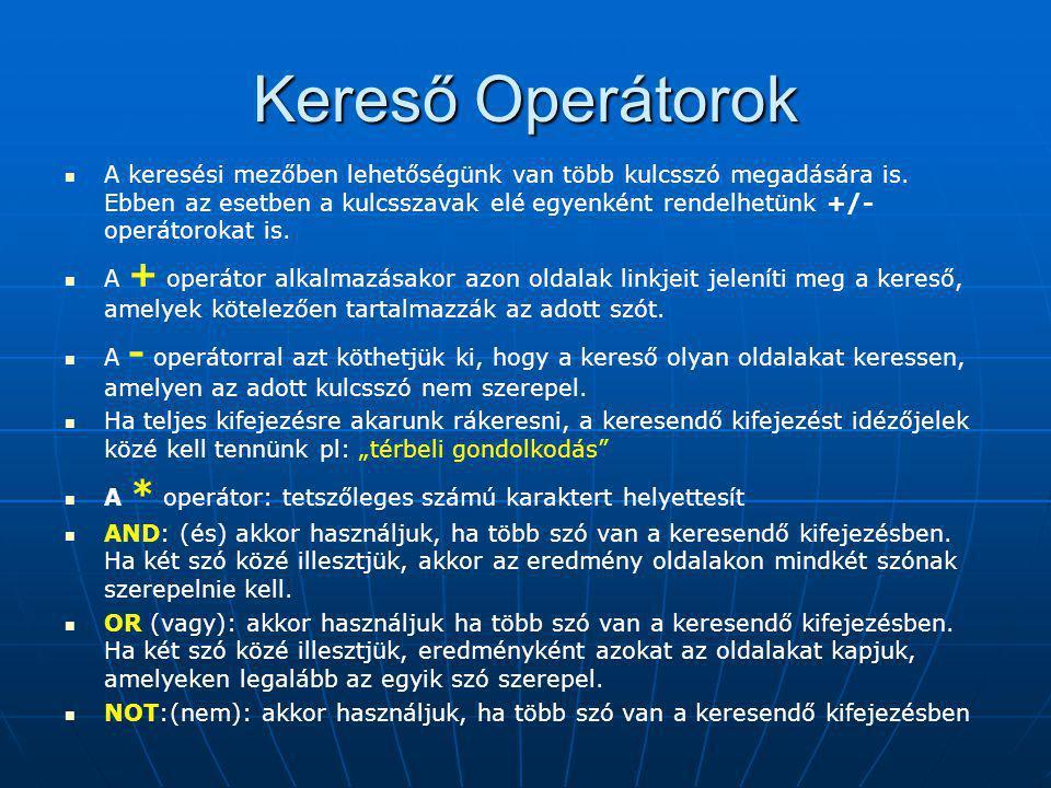 Kereső Operátorok