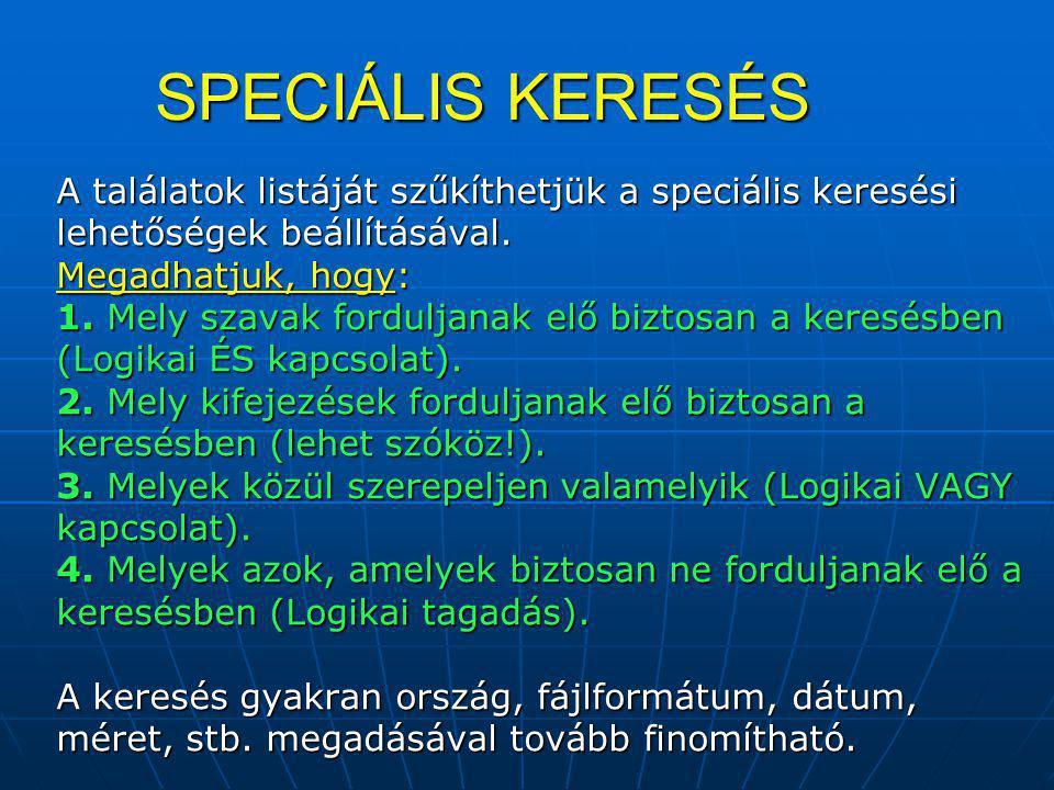 SPECIÁLIS KERESÉS