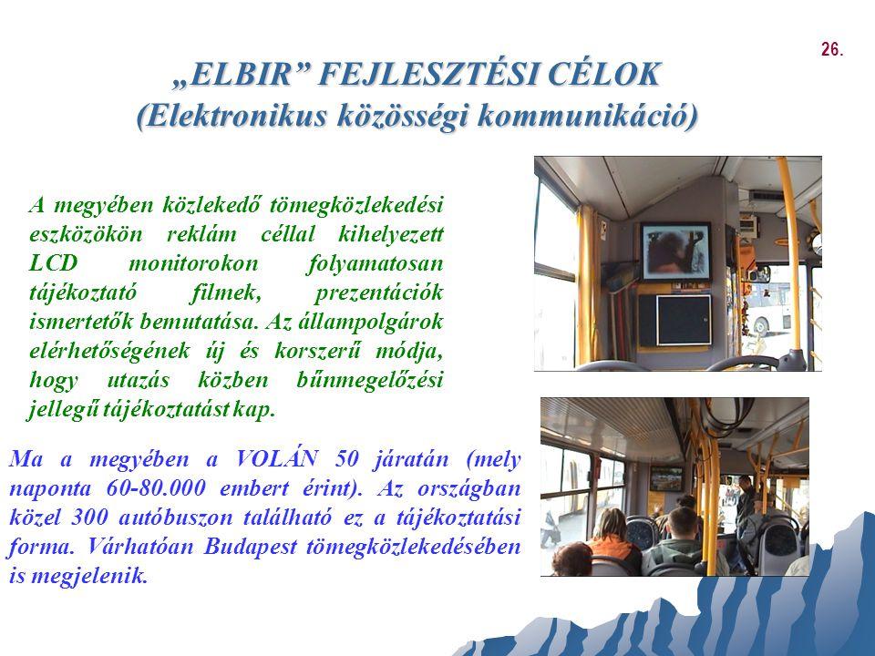 """""""ELBIR FEJLESZTÉSI CÉLOK (Elektronikus közösségi kommunikáció)"""