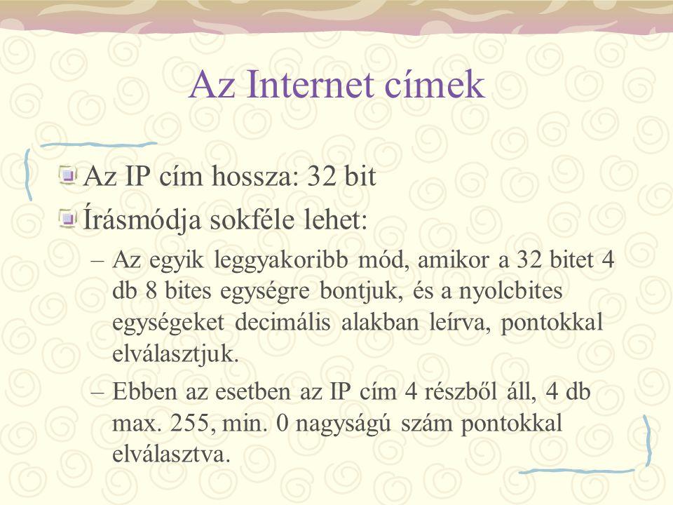 Az Internet címek Az IP cím hossza: 32 bit Írásmódja sokféle lehet: