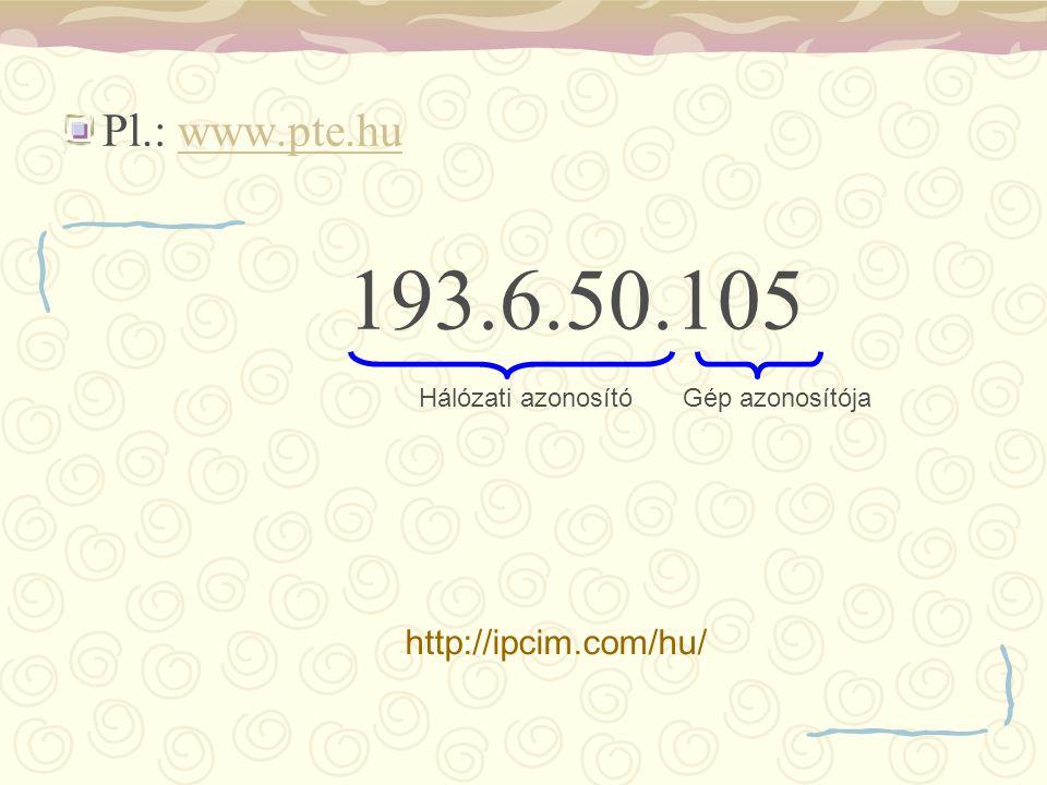 Pl.: www.pte.hu 193.6.50.105 http://ipcim.com/hu/ Hálózati azonosító