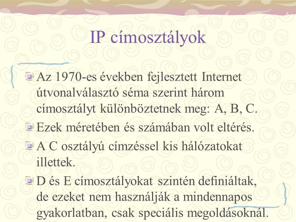 IP címosztályok Az 1970-es években fejlesztett Internet útvonalválasztó séma szerint három címosztályt különböztetnek meg: A, B, C.