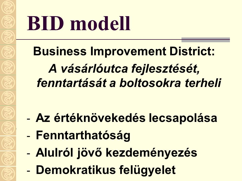 BID modell Business Improvement District:
