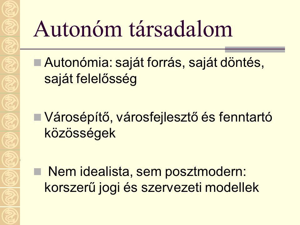 Autonóm társadalom Autonómia: saját forrás, saját döntés, saját felelősség. Városépítő, városfejlesztő és fenntartó közösségek.