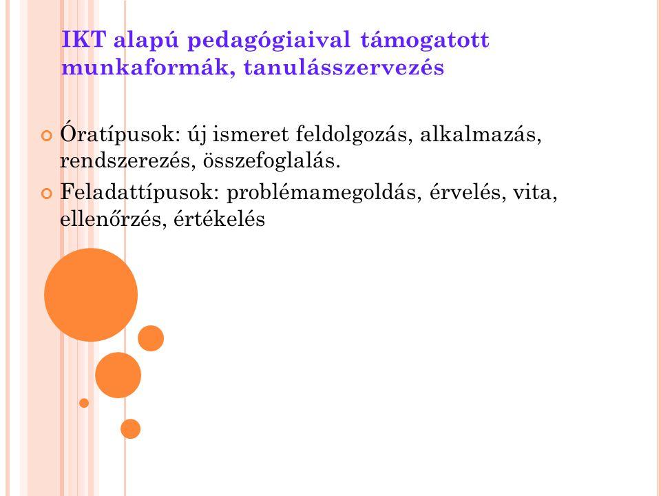 IKT alapú pedagógiaival támogatott munkaformák, tanulásszervezés