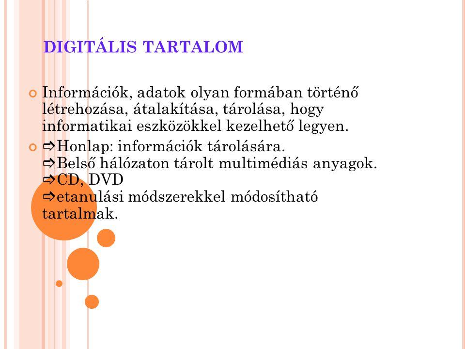 DIGITÁLIS TARTALOM Információk, adatok olyan formában történő létrehozása, átalakítása, tárolása, hogy informatikai eszközökkel kezelhető legyen.