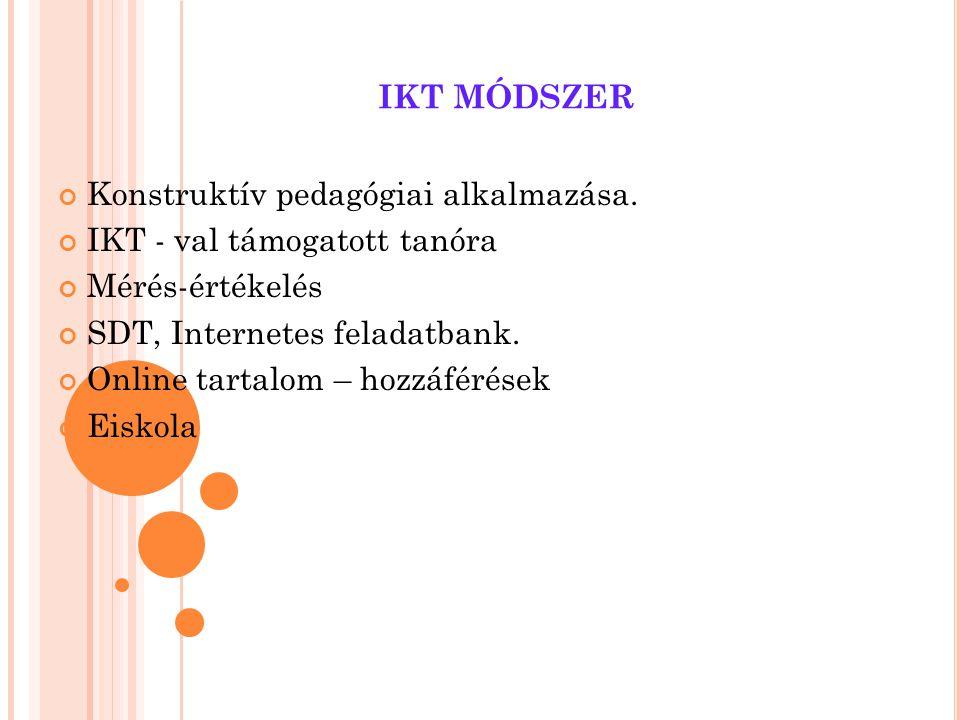IKT MÓDSZER Konstruktív pedagógiai alkalmazása.