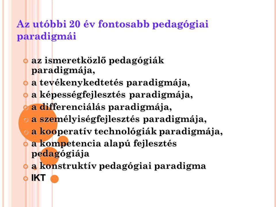 Az utóbbi 20 év fontosabb pedagógiai paradigmái