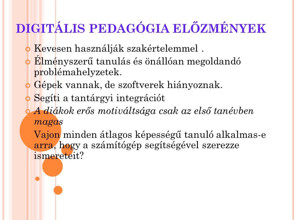 DIGITÁLIS PEDAGÓGIA ELŐZMÉNYEK