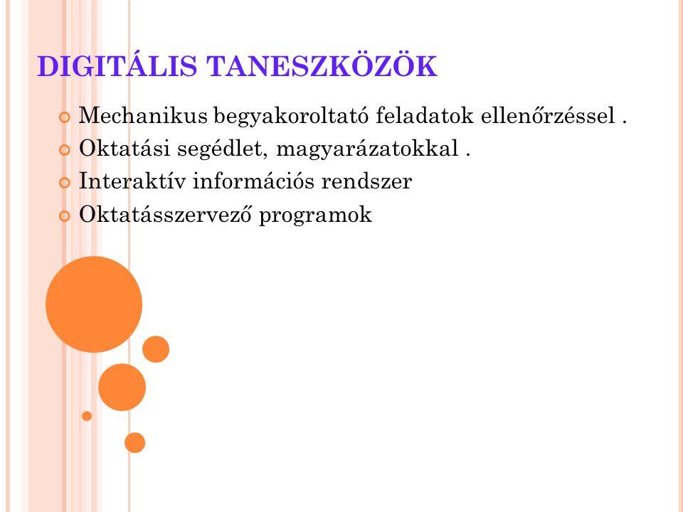 DIGITÁLIS TANESZKÖZÖK