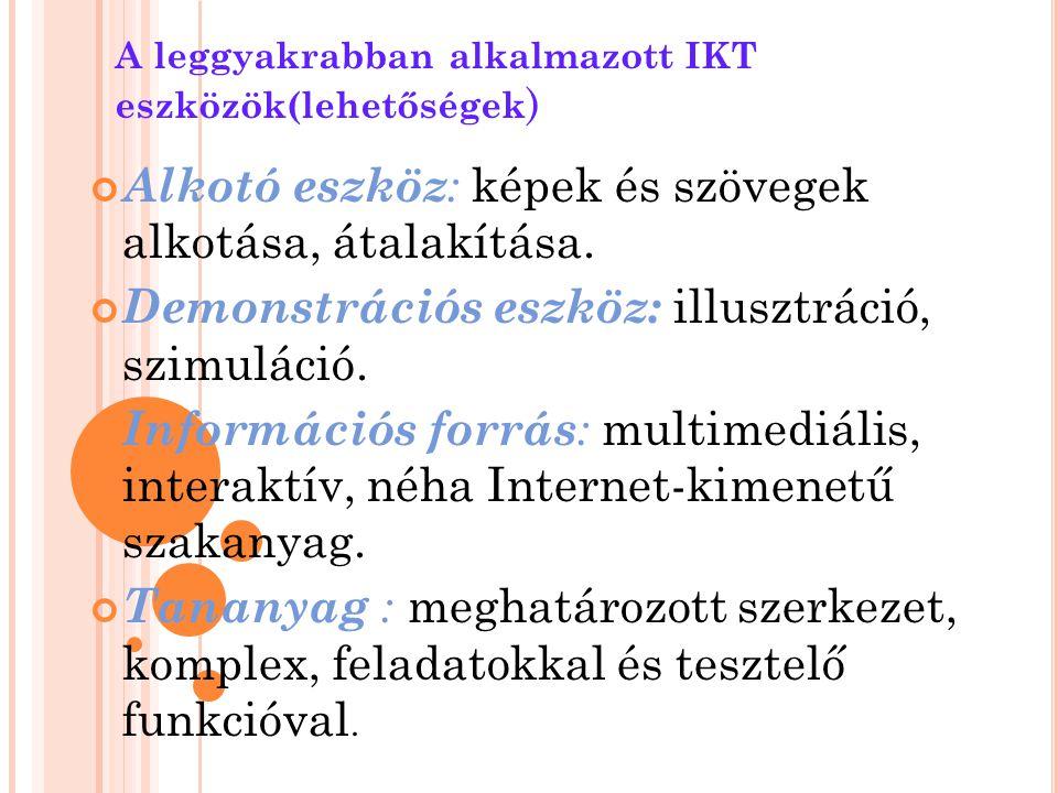 A leggyakrabban alkalmazott IKT eszközök(lehetőségek)