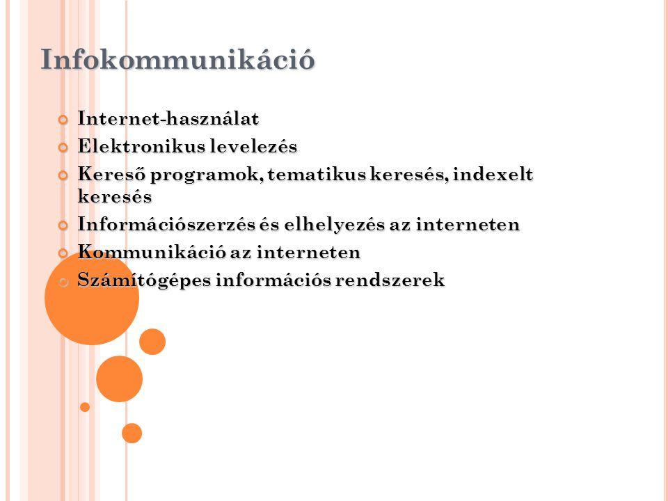 Infokommunikáció Internet-használat Elektronikus levelezés
