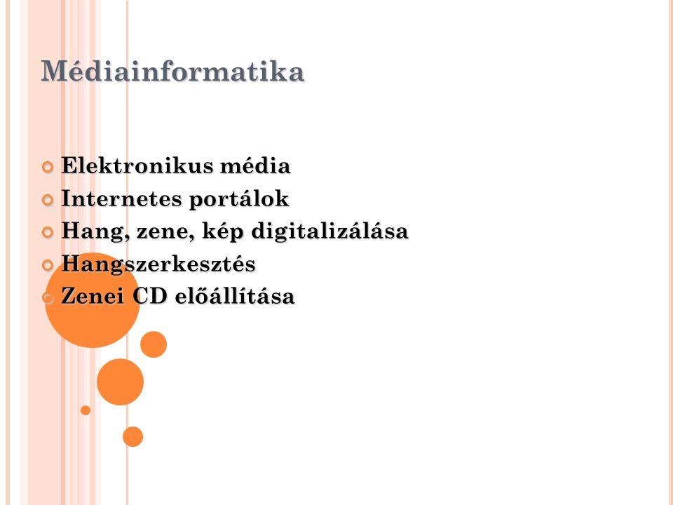 Médiainformatika Elektronikus média Internetes portálok