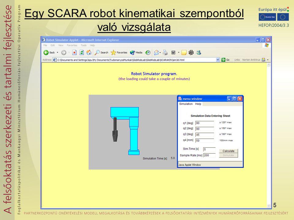 Egy SCARA robot kinematikai szempontból való vizsgálata