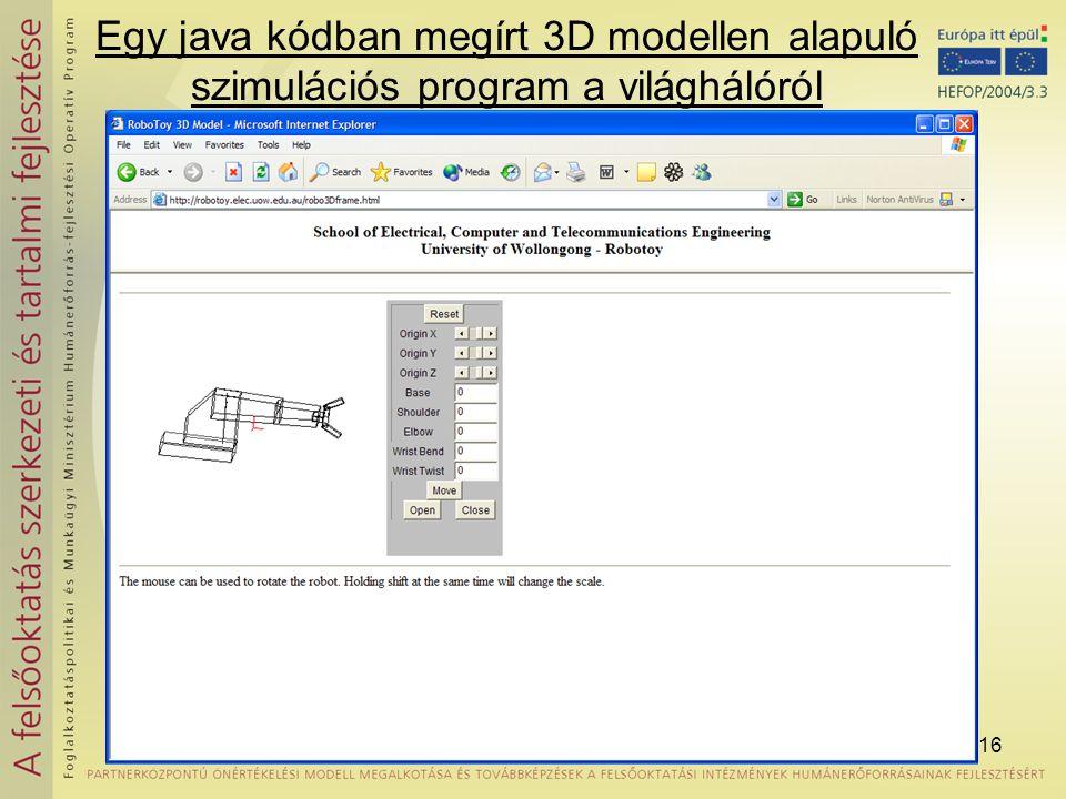 Egy java kódban megírt 3D modellen alapuló szimulációs program a világhálóról